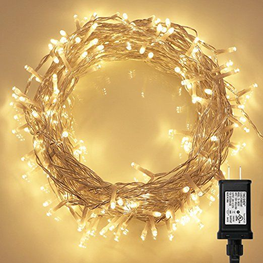 200 LED Indoor String Light with Remote and Timer on 69ft Clear String (8 Modes, Dimmable, Low Voltage Plug, Warm White)
