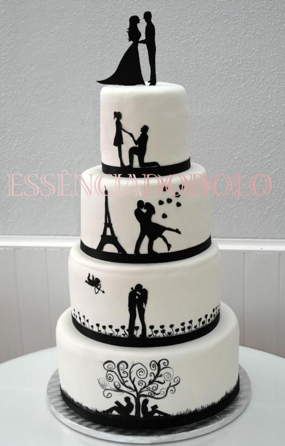 This was a very special wedding cake, the bride and grom, came do my story 15 days before the wedding, they were desperated, because they couldnt found anyone to make them this cake… their ideia, was to have their story, in shadows painted in the...