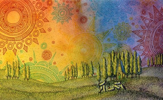 Print illustration - Merging Spheres by eugenefrost on Etsy - $7,50.
