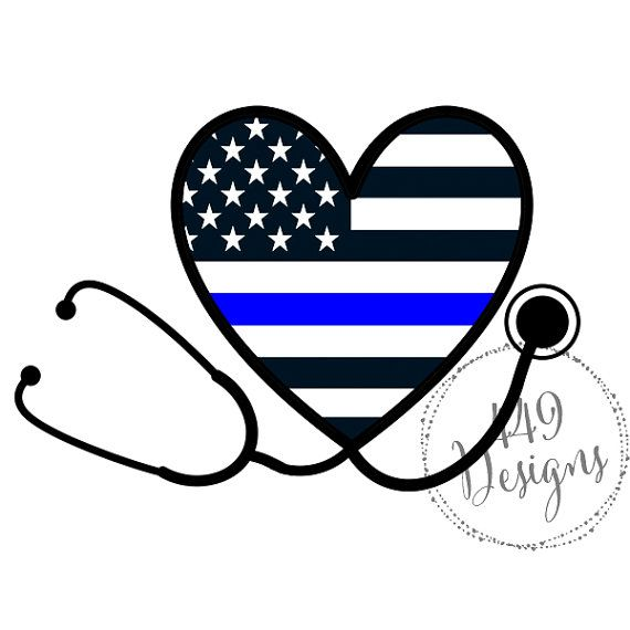 Nurse Stethoscope Supporting Police Wife and Law by 449Designs