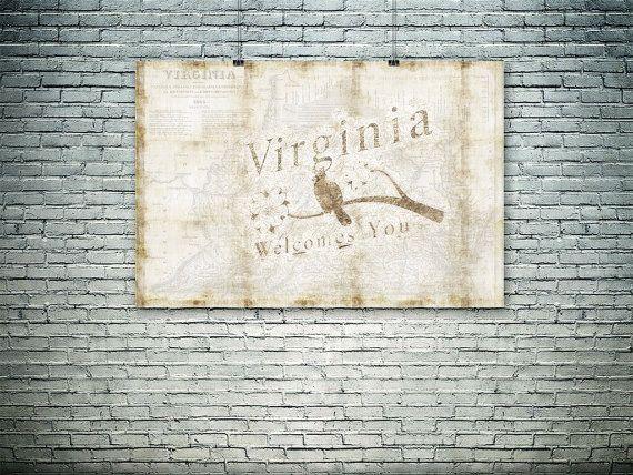 Virginia map collage Virginia symbols 19th century by PasteUpStore