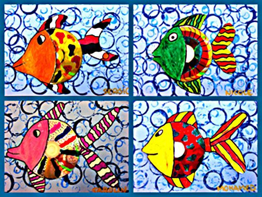 Tropical fish- stamp water background with styro cups of different sizes and shades of blue