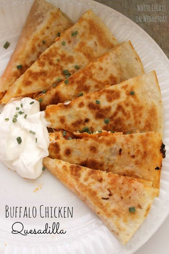 Buffalo Chicken Quesadilla 1 large tortilla 1 1/2 teaspoons butter 2 ounces cream cheese, softened 1/3 cup shredded chicken 2 to 3 tablespoons Frank's hot sauce (or your favorite hot sauce) 1/2 cup shredded jack cheese.