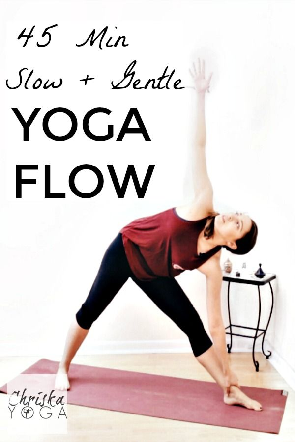 This is a full yoga class 45 minute Slow and Gentle Yoga Flow Class. It's great for beginners, but it's also good for all levels looking to take it easy, relax