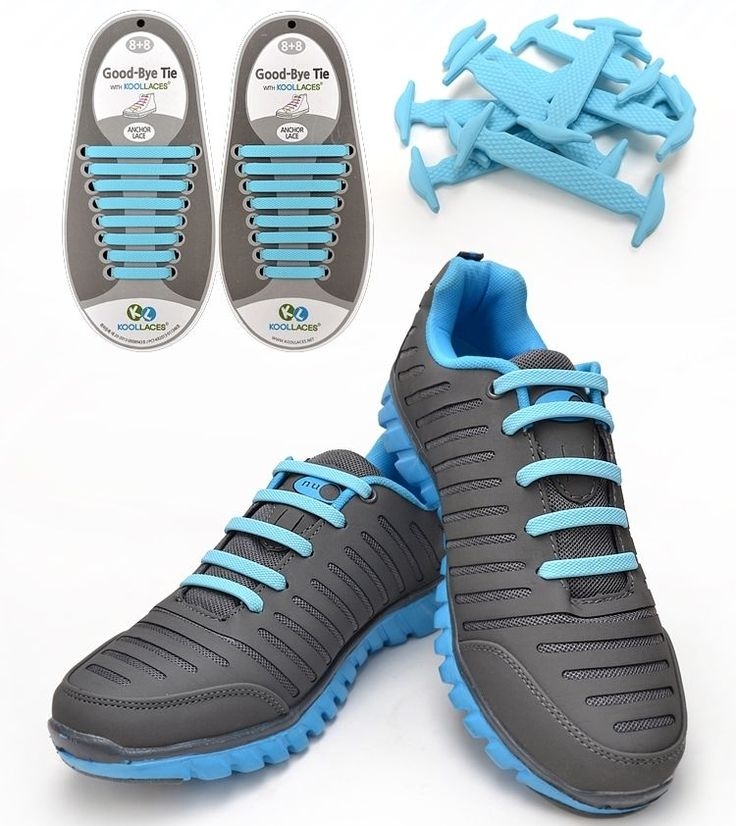 [KOOLLACES] Elastic No Tie Shoe Laces 16EA SKY-BLUE for Sneakers Running  Shoes