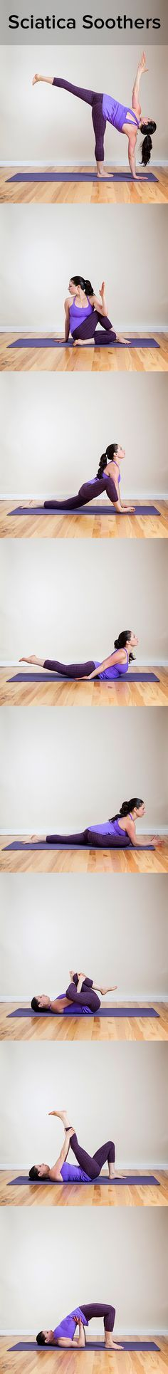 See Ya, Sciatica: Yoga Poses to Offer Relief These poses open up the hips and pelvis which places the sacrum and lumbar curve back where is belongs. this in turn takes the pressure off the sciatic nerve, alleviating pain!