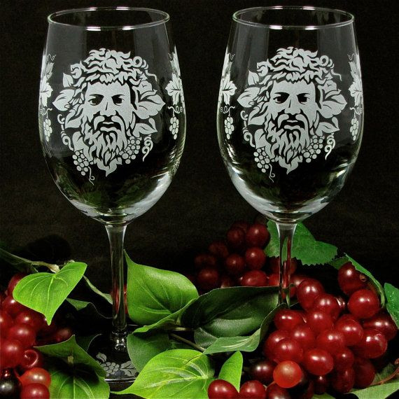 NEW!  2 Bacchus Wine Glasses, Etched Glass Roman God of Wine, Wine Lovers Gift