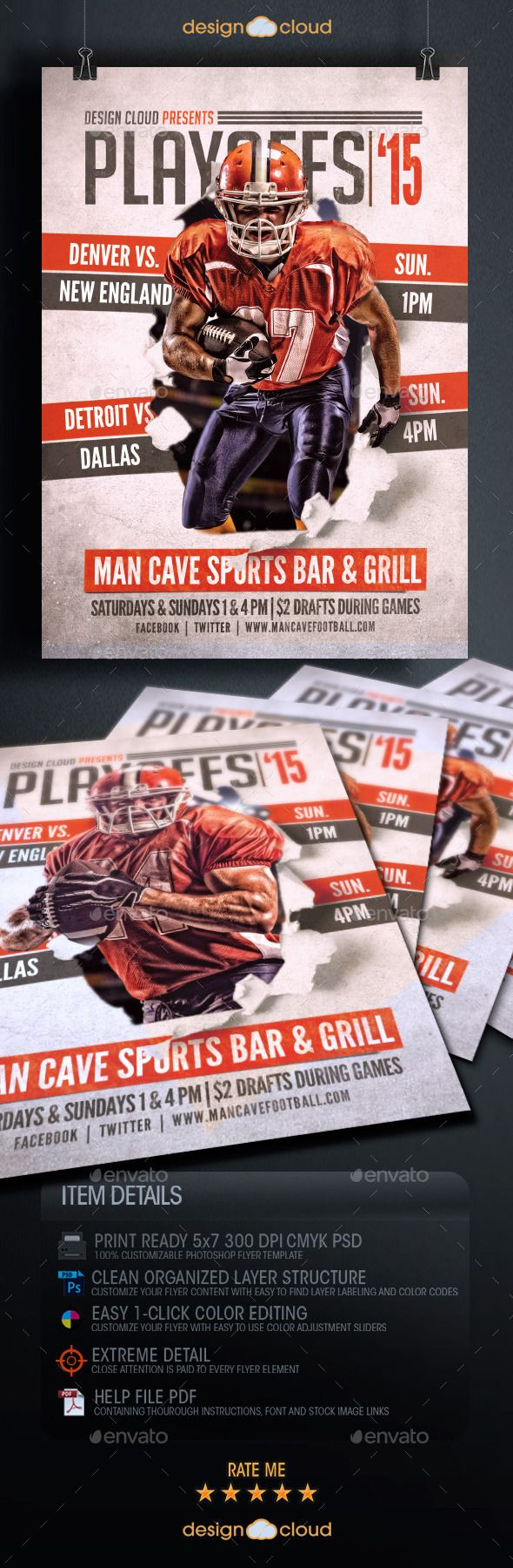 Playoffs 15 Flyer Template  • Only available here ➝ graphicriver.net/…