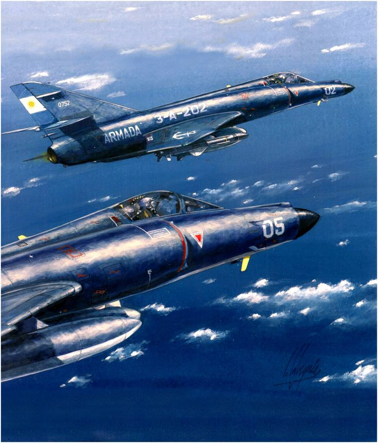 Argentinian jet fighters on patrol, Falklands War