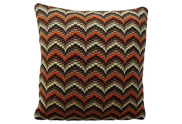 Bargello Needlepoint Pillow on OneKingsLane.com