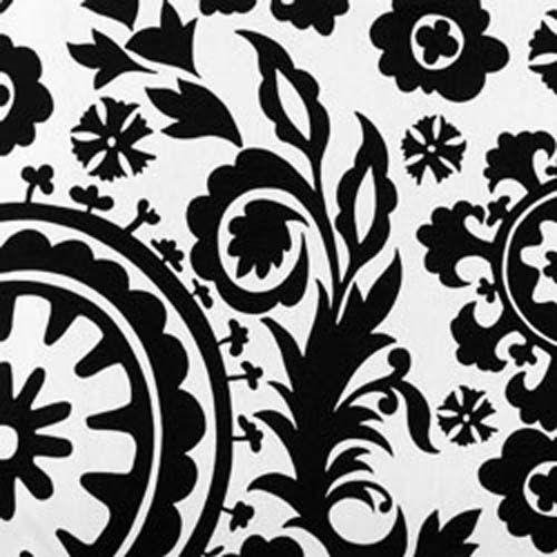Suzani Black Retro Printpremier Printswhite Homesdrapery Fabricupholstery