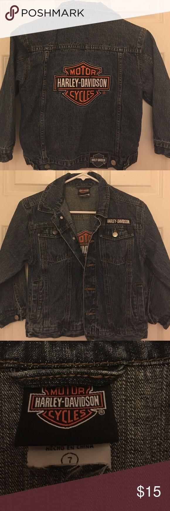 Kids hardly Davidson Jean jacket size 7 Kids hardly Davidson Jean jacket. Gently used but in great condition.  size 7 Harley-Davidson Jackets & Coats Jean Jackets