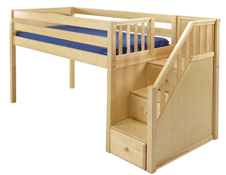 low loft bed with stairs steps