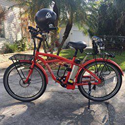 Amazon Com Newport Beach Cruiser Electric Bicycle Red