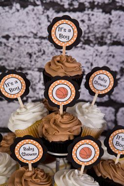 Basketball Theme CUPCAKE TOPPERS, Basketball Baby Shower Decorations in Orange & Black (12) by Get The Party Started   Catch My Party