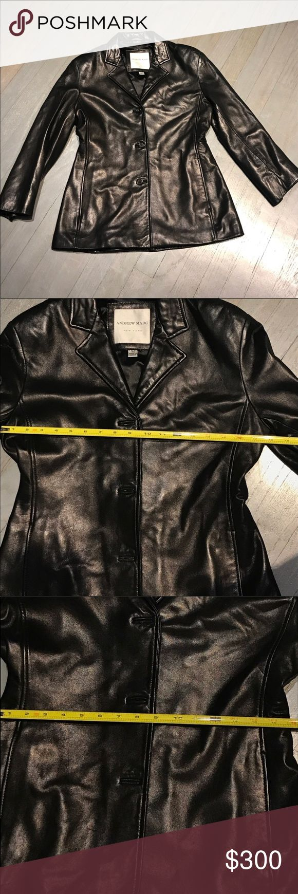 Andrew Marc Notch Collar Leather Blazer Jacket Andrew Marc NY black notch collar blazer style 3-button 2 pocket 100% genuine soft leather jacket. Excellent condition no issues stains rips holes tears. Measurements in pictures RN74847 Andrew Marc Jackets & Coats