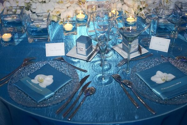 silver charger plates on silver sequins tablecloth reception - Google Search