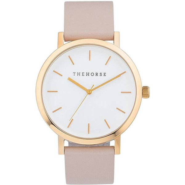 The Horse The Original Unisex Leather Watch ($105) ❤ liked on Polyvore featuring jewelry, watches, accessories, analog watches, gold, womens watches, polish jewelry, leather band watches, analogue watch and white leather band watches