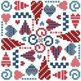 Cross-stitch More Hearts biscornu ... no color chart available, just use the pattern chart as your color guide.. or choose your own colors...