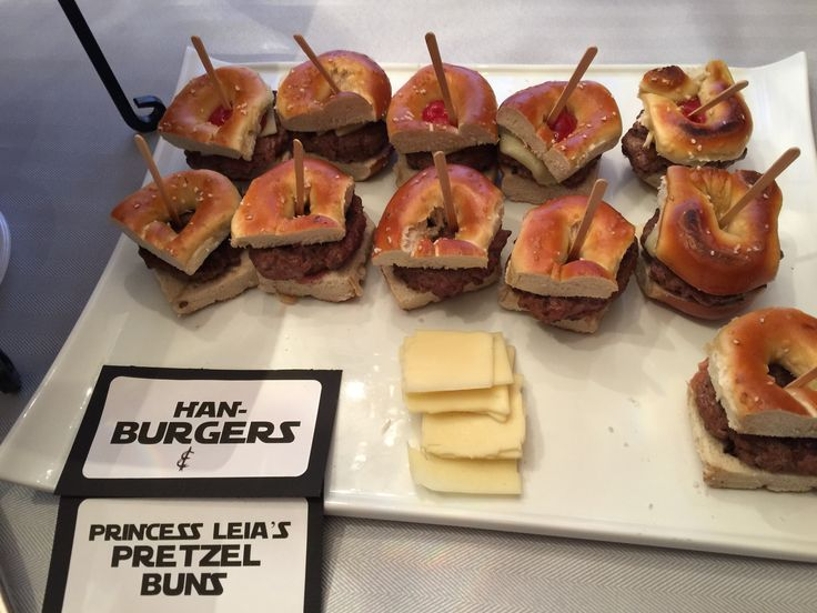 Han-burgers on Princess Leia Pretzel Buns