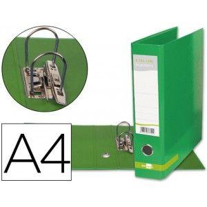 Practico y economico archivador A-4 con mecanismo de palanca fabricado en cartón forrado plastificado sin ranura, en color verde
