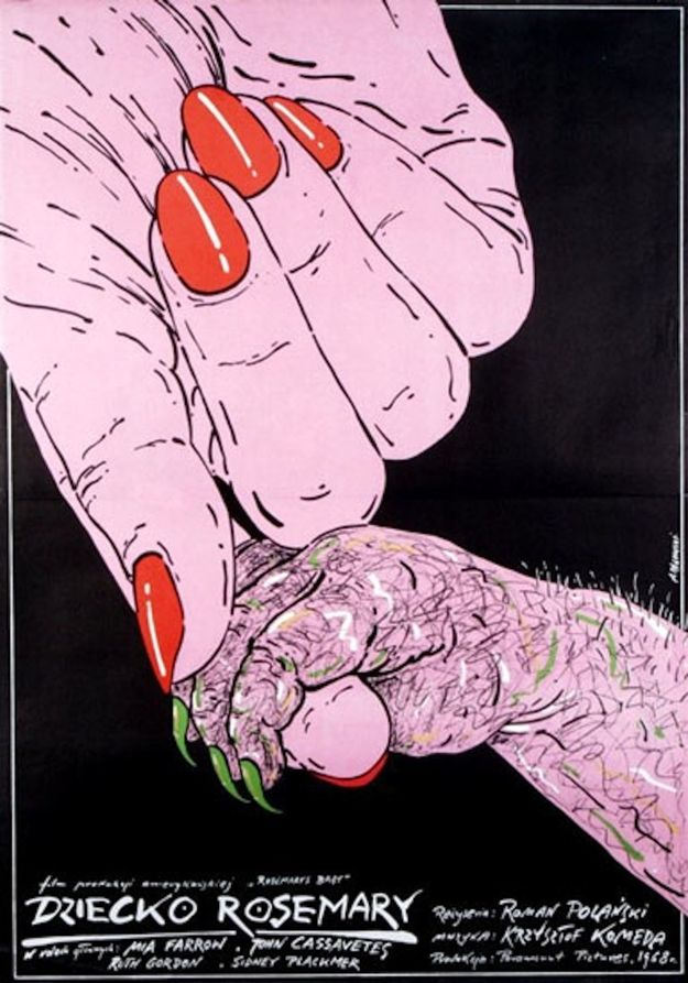 "Vintage Polish poster of ""Rosemary's Baby"" during the Communist era"