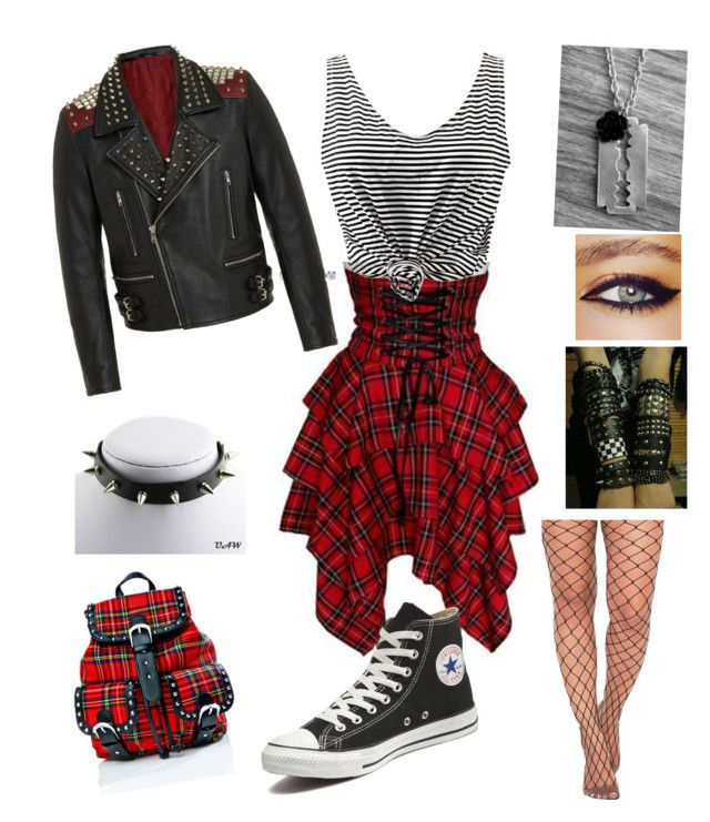 punk/rock/emo/girl by manaska on Polyvore featuring polyvore moda style WithChic Converse Current Mood RADDAR7 GALA fashion clothing