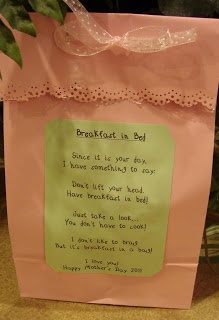 """My First Grade Backpack: Mothers Day Breakfast Bag- cute, awesome idea! I am going to read """"If You Give a Moose a Muffin"""" and students are going to create an """"If You Give a Mom a Muffin"""" story and tape it to the side of their bags."""