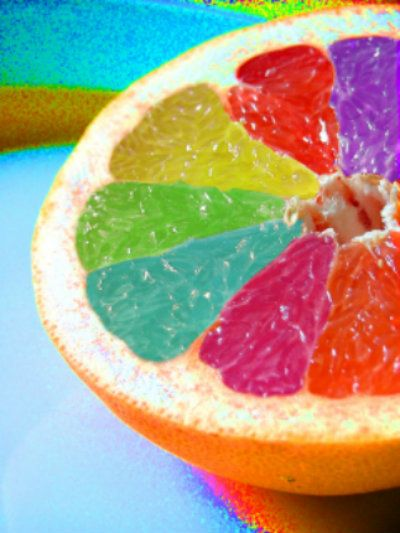 Rainbow love ...everything looks better in color, I wonder if the grandkids would like grapefruit better if I did this to them ?