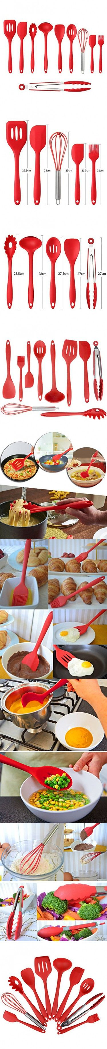 Kitchen utensils list with pictures and uses - Silicone Kitchen Utensil 10 Piece Cooking Set Turner Large Spoonula Small Spoonula