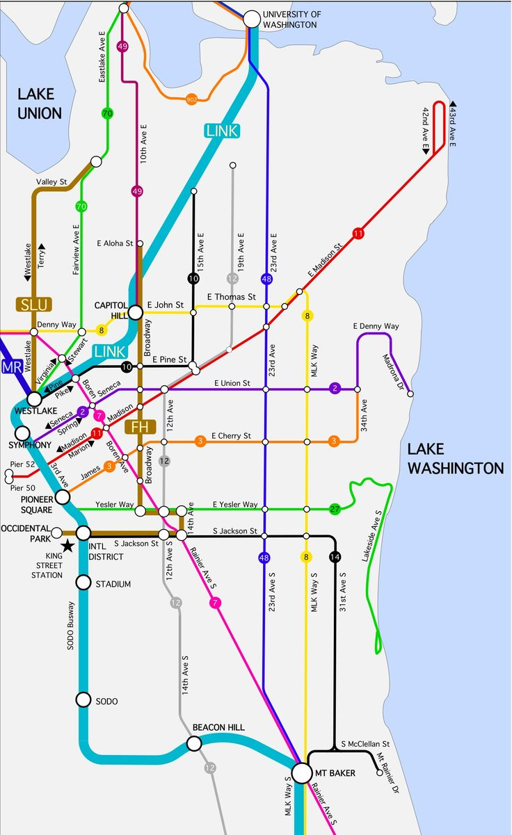 Seattle Bus Tunnel Map Current And Future Uw Capitol Hill Expansion As Featured