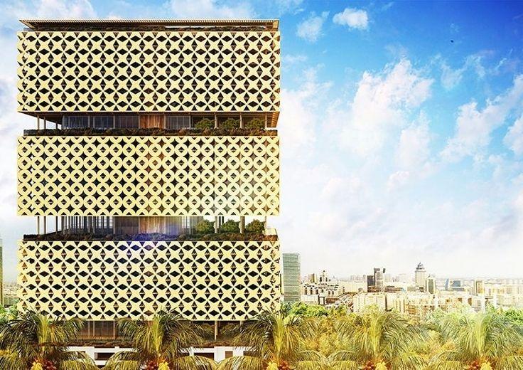 Деревянным планируют сделать не только фасад здания, но даже несущие конструкции! http://faqindecor.com/ru/news/proekt-pervogo-derevyannogo-neboskreba-v-nigerii/