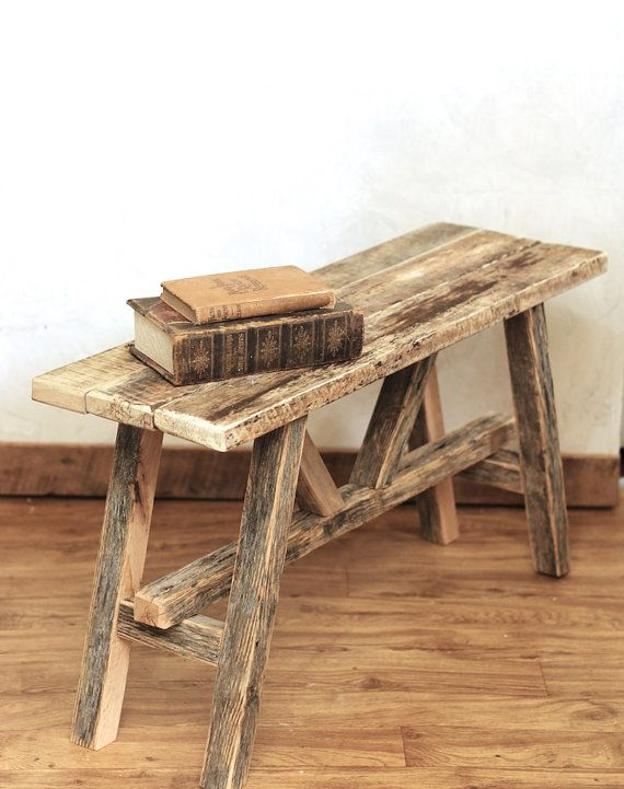 Rustic Bench Reclaimed wood bench Barn wood by GrindstoneDesign