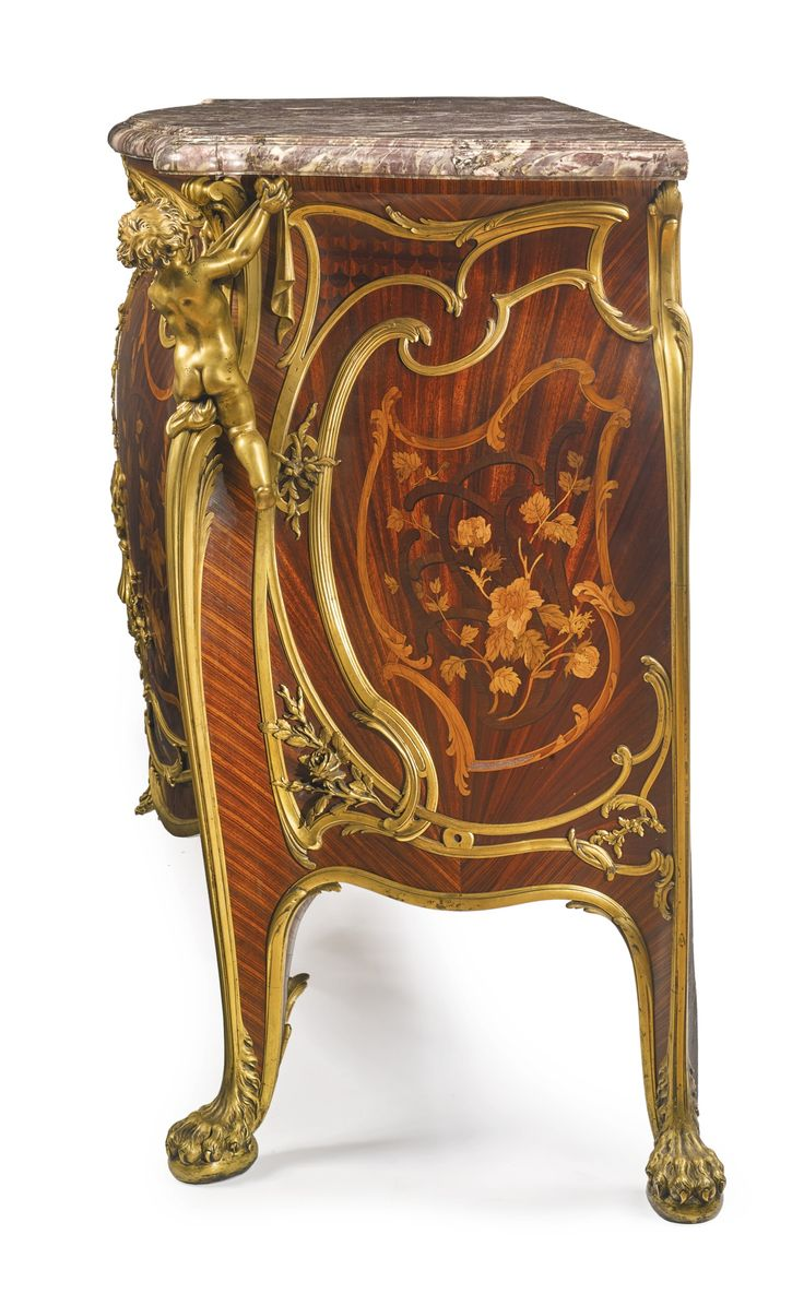 François Linke French, 1855 - 1946 An impressive and rare gilt bronze-mounted kingwood, satiné and fruitwood floral marquetry grande commode à vantaux Paris, circa 1885 surmounted by its original fleur de pêcher marble top, the vantaux opening to one shelf, the lock has been removed to reveal the Clément Linke stamp, the proper left hand chute signed F. Linke. Original key