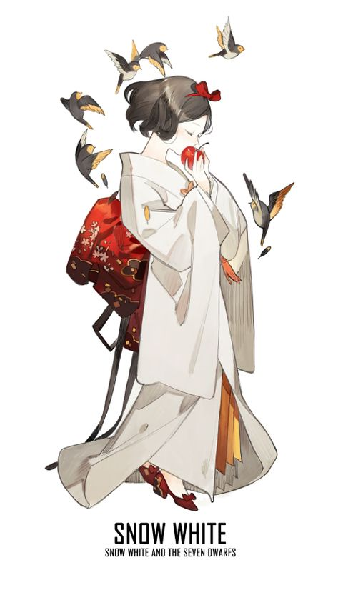 blanca nieves en kimono