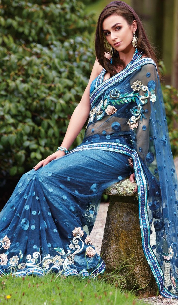 Azure Blue Brocade Net Wedding Party Wear Saree