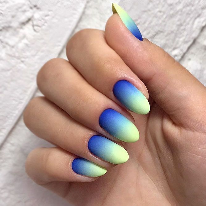 35 Bright Neon Colors Ombre Nails Design