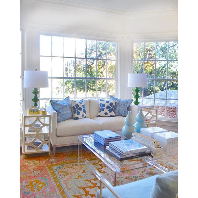 Dallas living room with gorgeous antique Oushak rug, neutral contemporary furnishings & bright accent colors - Blue Print Store