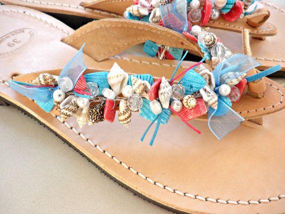 Summer leather sandals- Beaded sea shells leather sandals-Navy  Blue red shells sandals- Natural sandals- Beach flats- Greek leather sandals