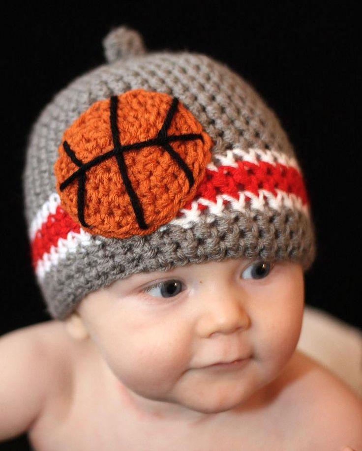 Ohio State Buckeye Basketball Crochet Nub Tip Beanie  (Crocheted to Order in sizes newborn - toddler). $24.00, via Etsy.