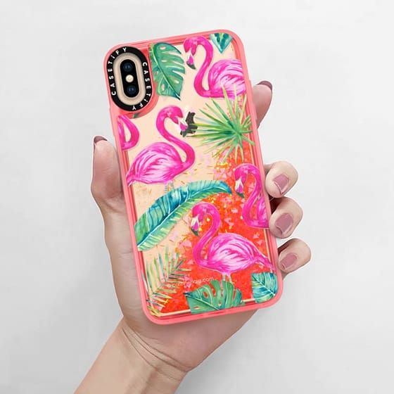 super popular 4741d 61e88 Glitter iPhone XS Max Case - Tropical Flamingos in 2019 | Glitter ...