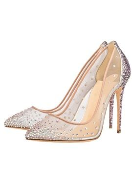 8df71929a355 Prom Shoes Rhinestone Sequin Mesh Unique Stiletto Heels