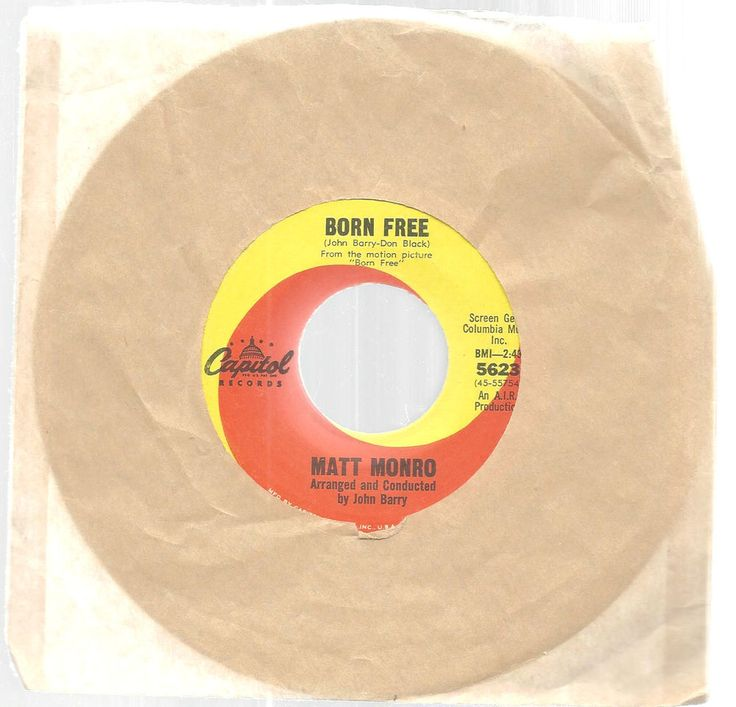 Matt Monro Born Free Other People 45 RPM Capitol Records  #EasyListening