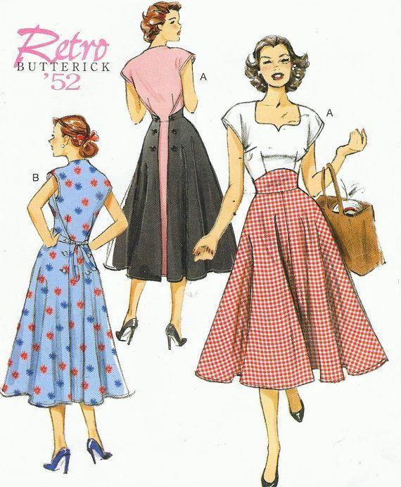 Womens Back Wrap Dress Summer Dress 1950s Dress Butterick Sewing Pattern B6212…