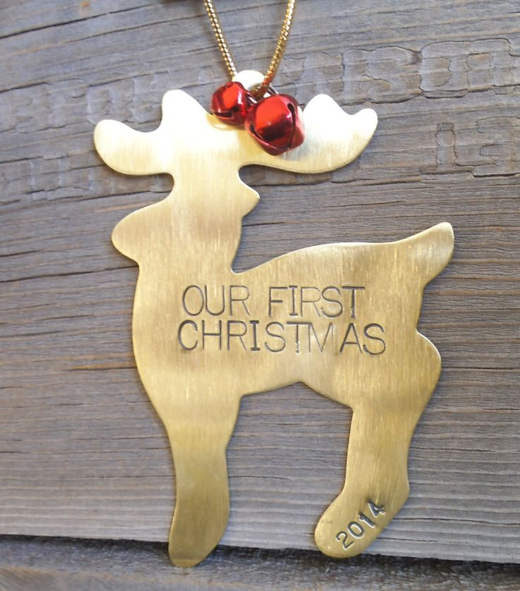 Personalized Our First Christmas Ornament 1st Christmas Mr and Mrs Ornament Handstamp First Year Husband Wife Newlywed Reindeer Decoration by CandTCustomLures on Etsy
