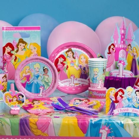 Turn your little princess's first birthday into a royal engagement with enchanting partyware featuring Disney Princess characters. These party supplies feature bright, colorful prints of your favorite princesses on plates, napkins, table covers, decorations, accessories and more! Create a fully themed birthday or mix and match with other Disney Baby partyware collections to make her birthday as unique as she is. Items are available separately or as ready-to-go sets.