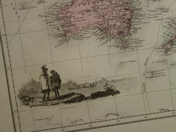 OCEANIA old map LARGE hand colored print 1883 by DecorativePrints