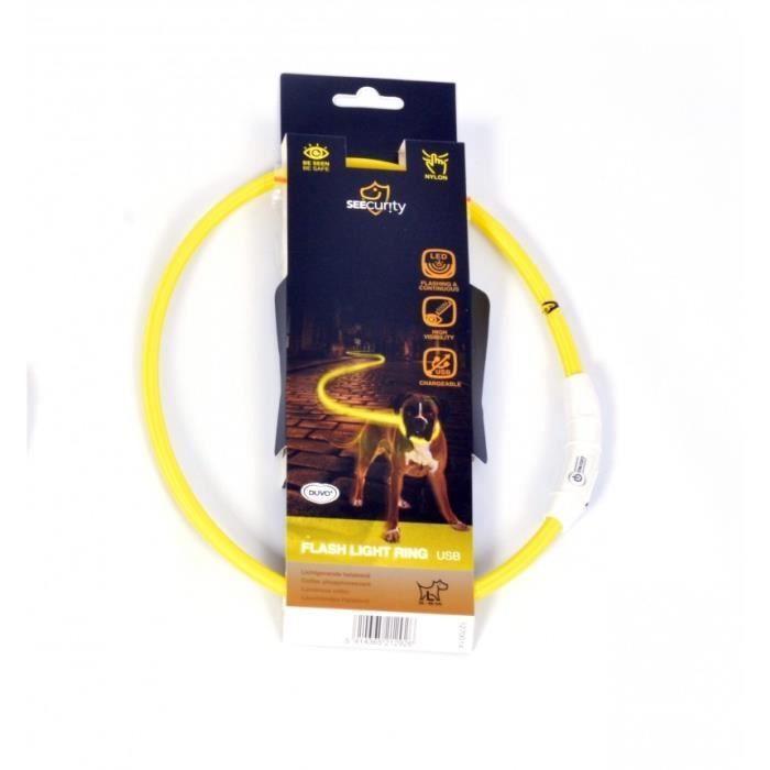 DUVO Anneau Lumineux Seecurity Flash Light Ring USB Nylon – 35 cm – Jaune – Pour chien