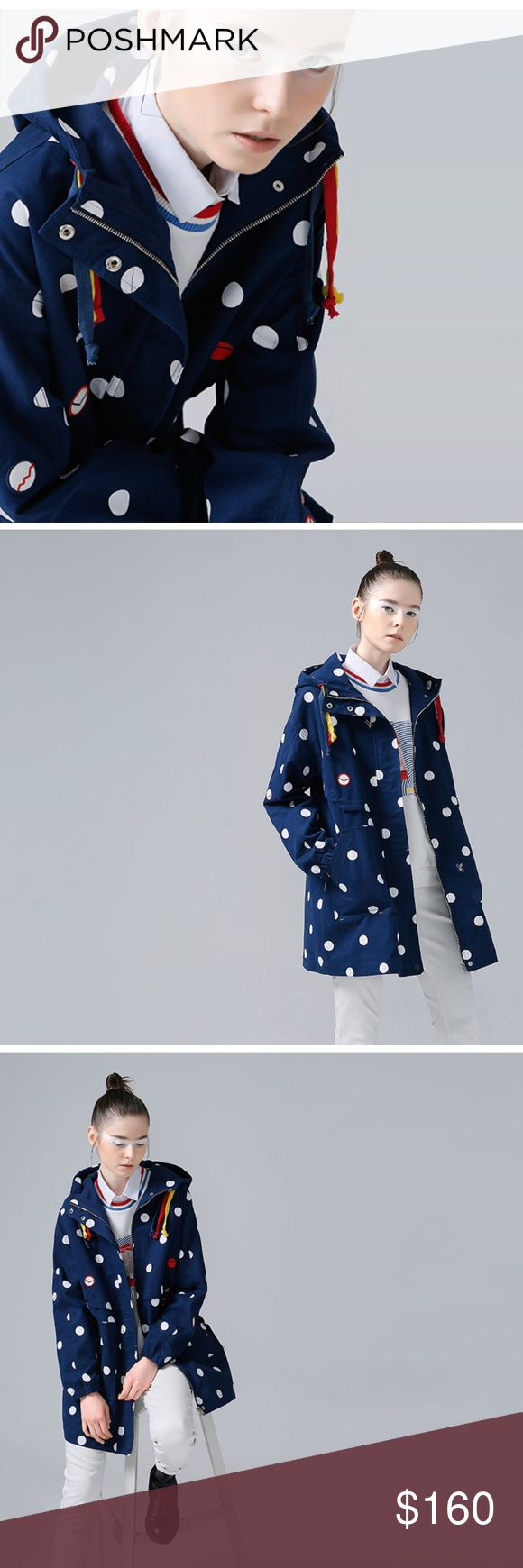 STUNNING Polka-Dot Trench (BLUE) 100% Cotton casual style, long length, tons of accents, and vibrant colors to stand out in the crowd LG: bust 110cm / total length 82.5cm XL: bust 114cm / total length 84.5cm Jackets & Coats