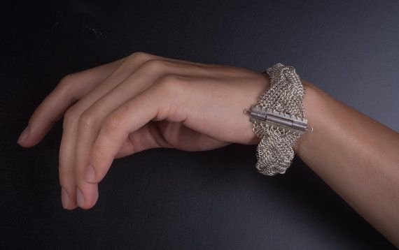Braided Chainmaille European 4 in 1 Sterling Silver Bracelet - Made to Order